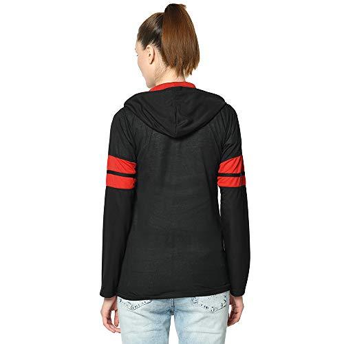 VIMAL JONNEY Women's Cotton Blend Full Sleeve T-Shirt with Hoodie   Black and Red, Medium