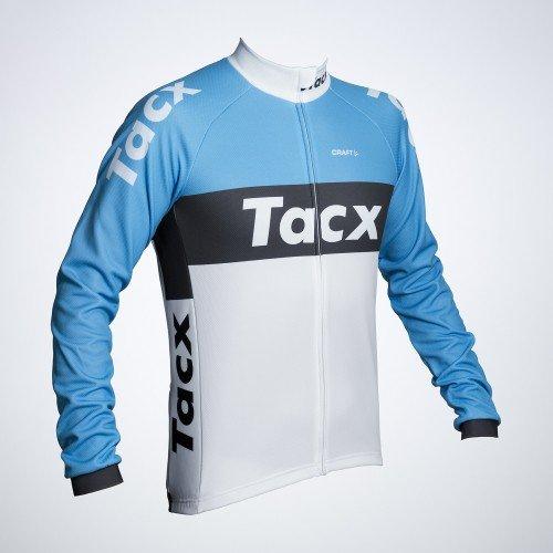 Tacx Langarm-Trikot Camiseta, Hombre, Blanco-Azul, Large