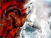 帆布の数字によるDIY絵画手工芸品数字による大人の着色アクリル絵の具動物の馬40x50cmA
