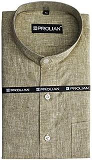PROLIAN Men's Linen Pista Green Solid Formal Shirt