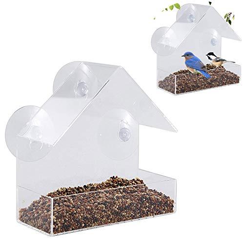 Old Tjikko Vogelhaus Fenster,Vogelfutterspender,Vogelfutterhaus,Futterstation mit Dach,Parrot Futterautomat für Kleine bis Mittelgroße Vögel Draussen Vogelfütterer,Transparent (15cm)