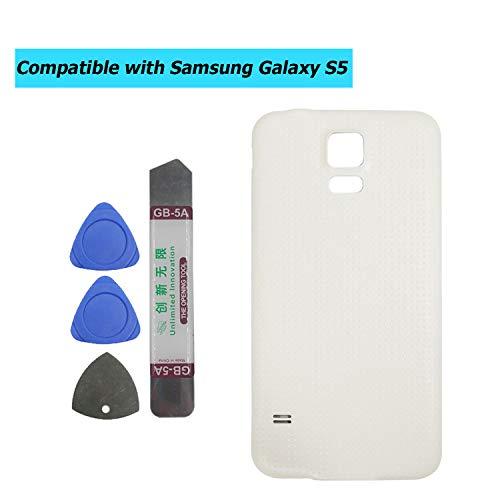 Upplus - Tapa de batería Compatible con Samsung Galaxy S5 G900 G900A G900P G900T G900V G900R4 G900F, Color Blanco