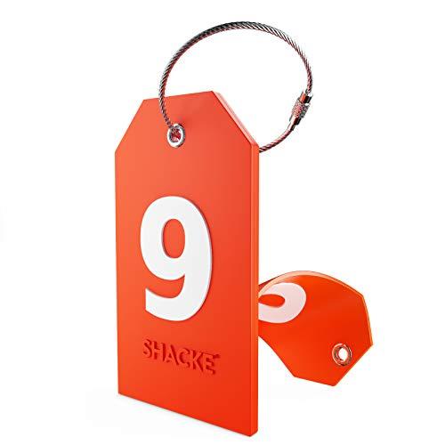 Etiqueta Inicial para Equipaje con Cubierta de privacidad Completa y Bucle de Acero Inoxidable (número 9)