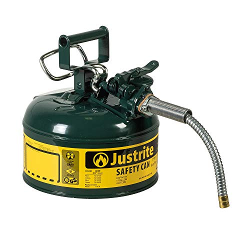Justrite 7210420 AccuFlow 1 Gallon, Galvanized Steel Type II Green Safety Can With 5/8' Flexible Spout