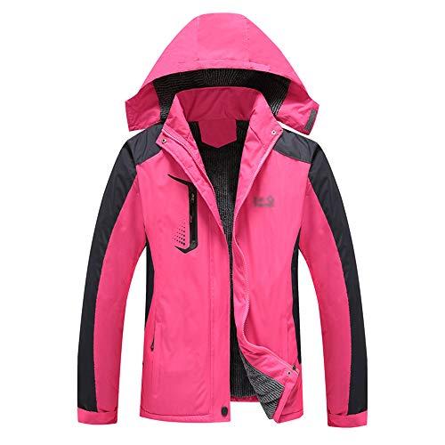KINDOYO Veste D'extérieur pour Femmes - Hiver Épaissir Chaud Ski Étanche Pluie Neige Voyager Loisirs Vêtements, Rose Rouge, EU 2XL=Tag 3XL
