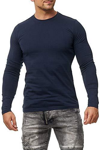 Happy Clothing - Camiseta de manga larga para hombre - Cuello redondo - S M L XL 2XL 3XL azul oscuro XXL
