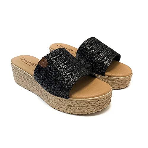 ZAPATISIMOS - Mules Mujer Sandalias de Vestir Punta Abierta de Piel Plantilla de Gel Zueco de Yute Primavera Verano