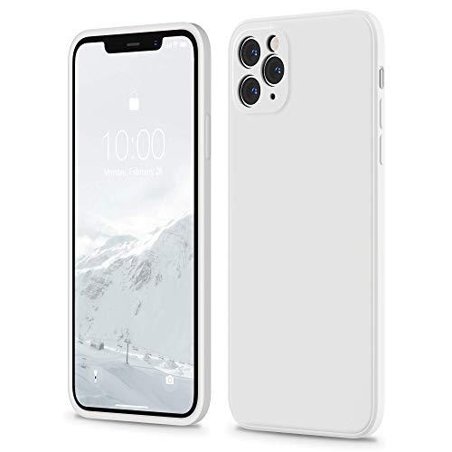 SURPHY Hülle Kompatibel mit iPhone 11 Pro Max Hülle, iPhone 11 Pro Max Hülle Silikon, Flache Kante Silikon Handyhülle für iPhone 11 Pro Max 6,5 Zoll Silikon Slim Dünn Protective Case Schutzhülle, Weiß
