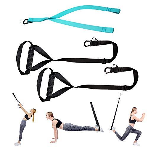 HOPAI Allenamento Sospensione Cinghie di Sospensione per Fitness Body Training Incluso Ancoraggio per Porta Supporto & Cinghia di Fissaggio Carico Fino a 500kg