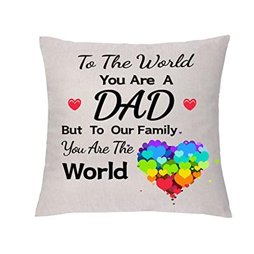 aligarian Funda de cojín para papá con diseño de abrazo de funda de almohada de lino para cumpleaños con texto en inglés Acción de Gracias al mundo eres un padre para nuestra familia eres el mundo