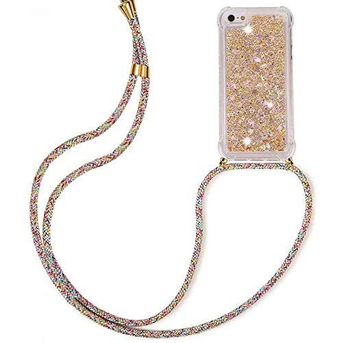 HongMan Funda Bling Glitter Liquida con Cuerda para iPhone 5/5S/SE,Transparente Cristal Suave Silicona TPU Bumper Protector Carcasa con Colgante Ajustable Cordón - Case y Correa