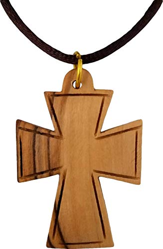 Logos Trading Post Holy Land Olive Wood Pendant Necklace from Israel, Celtic Cross Large, Hand Carved Olive Wood Pendant from Jerusalem with Attached Cord