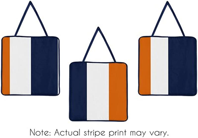 Sweet Jojo Designs Modern Navy Blue And Orange Stripe Print Boys Wall Hanging Accessories