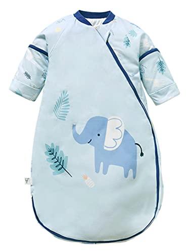 Chilsuessy Baby Winter Schlafsack mit abnehmbaren ärmeln 2.5 Tog Ganzjahres Schlafsack Langarm Kinderschlafsack Babyschlafsack aus ganz soft natürlich Baumwolle, Elefant, L/Babyhöhe 80-90cm
