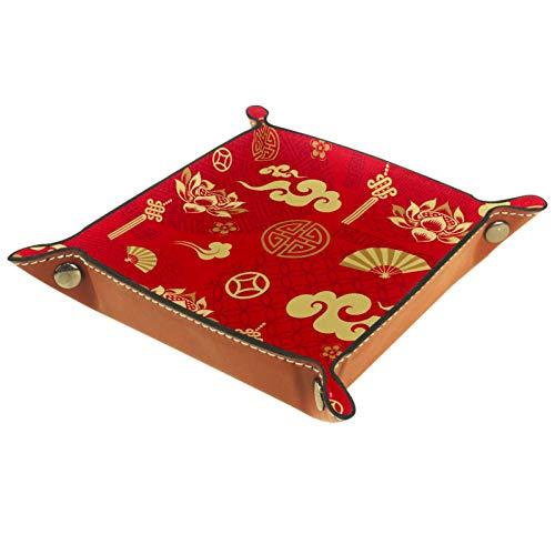Caja de almacenamiento pequeña, bandeja de valet para hombre,Elementos chinos tradicionales ,Organizador de cuero para llaves de caja de monedas
