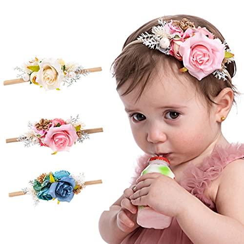 TURMIN Baby Blumen Stirnbänder, 3 Stücke Rose Kinder Haarband Mädchen Kleinkind Stirnbänder Säugling Blume Haarschmuck Haarzubehör für Baby Mädchen Geschenk