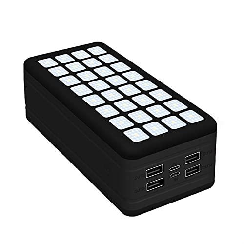 shayu Banco de energía Solar 99000mAh Cargador de teléfono móvil portátil de Gran Capacidad LED 4USB Puerto Popaverbank Compatible Xiaomi Samsung iPhone (Color : Black)