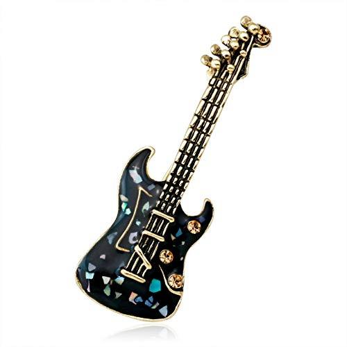 ERDING Brooch/Gitaar Viool Groen Natuursteen Shell Crystal Broches Pins Vintage Antieke Gouden Stijl n Broochmusical Instrument Muziek