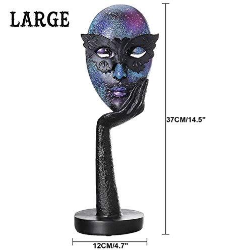 Decoratie Standbeeld Sculptuur Ambachten Woondecoratie Hars Feest Koningin Masker Standbeeld Abstract Ornament Standbeeld Masker Beeldje Sculptuur Ambacht Voor Thuiskantoor, L-Maat