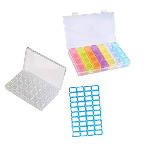 Anyasen 2 Piezas 28 Compartimientos Latas de plástico Accesorios para Pintar con Diamante Caja de clasificación Surtido Almacenamiento Organizador de joyería Nail Art con Etiqueta
