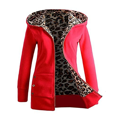 Lenfeshing Jersey con Capucha Acolchado de Terciopelo Plus para Mujer Chaqueta de Cremallera con Forro de Leopardo Y Bolsillos