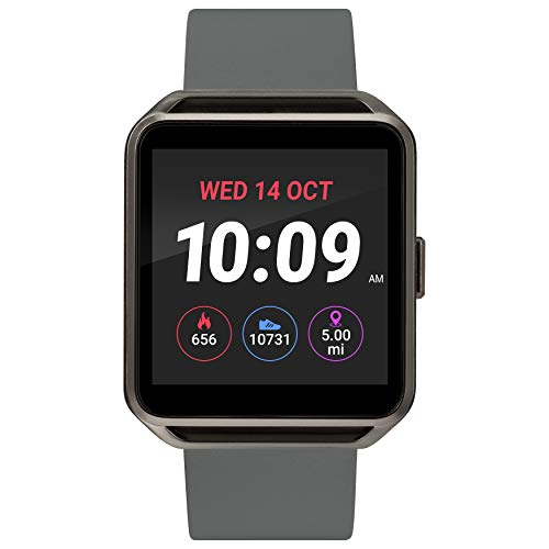 iConnect By Timex Classic Square Smartwatch with Heart Rate & Two-Way Bluetooth Calling 40mm – Gunmetal with Gray Strap