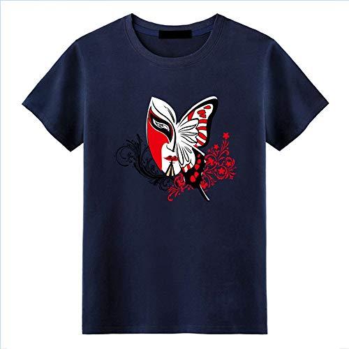 WYTX T-Shirt Sommer Herren Print Butterfly Pattern Kurzarm Blau Mode Rundhals T-Shirt, 3XL