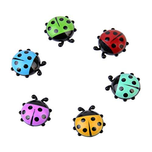 Vosarea - Magneti da frigo a forma di coccinella, in plastica, piccoli magneti da cucina, divertenti, 6 pezzi