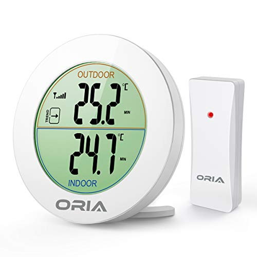 Oria Digital Thermometer, Innen Außen Thermometer Temperatur Monitor, Thermometer mit Außensensor, Runder LCD Display, ℃/℉ Schalter, MIN MAX Aufzeichnungen, Ideal für Zuhause, Küche und Büro- Weiß