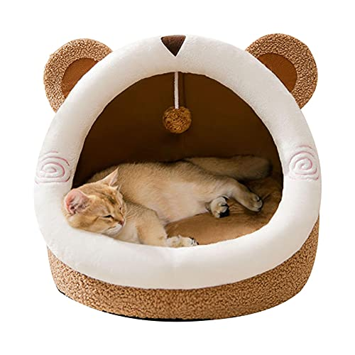 Cama cálida para mascotas, nido semicerrado lavable, nido para gatos, suave y cómodo.