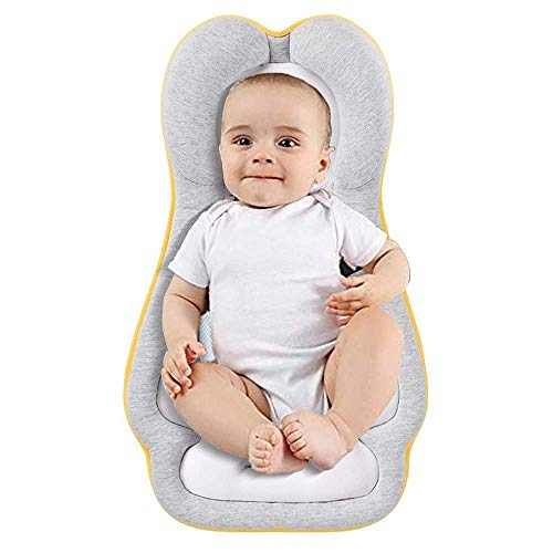 Weflye Baby Head Support Pillow, Portable Newborn Baby Bed Mattress, Untra Soft and Breathable Baby Bed Pillow Lounger for Newborn Baby and Infant Age 0-6 Months