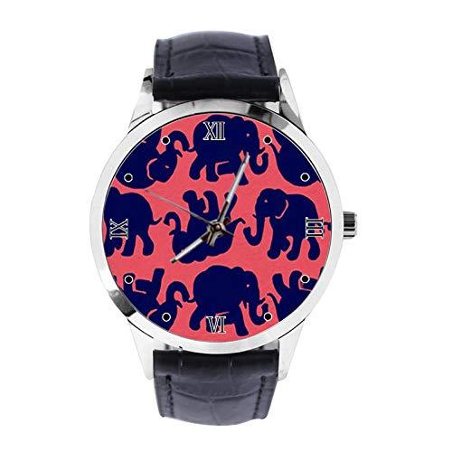 Reloj de pulsera analógico de cuarzo con diseño de elefante, unisex, con correa de piel, para niñas y niños