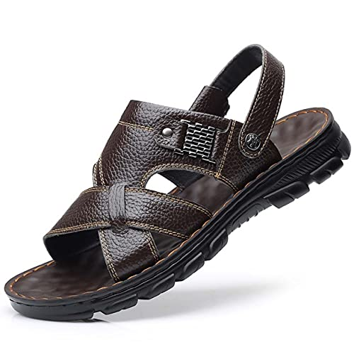 Men's Slide Sandals Leather - Comfortable Lightweight Leather Summer Slipper Shoes for Indoor Outdoor Use Hiking Sandals Waterproof Athletic Sports Sandals Fisherman Beach Shoes,Brown,42