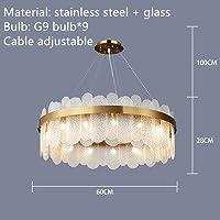 MYERZI 廊下照明 豪華 現代グレイクリアガラスのシャンデリアゴールドステンレススチールランプリビングルームレストラン照明器具G9 LEDコード調節可能 (Emitting Color : White light, Lampshade Color : White glass 60cm)
