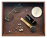Vixdonos Leather Valet Tray,Rectangular Catchall Tray,Counter Organizer for Key,Jewelry,Perfume,Glasses and watche(Brown)