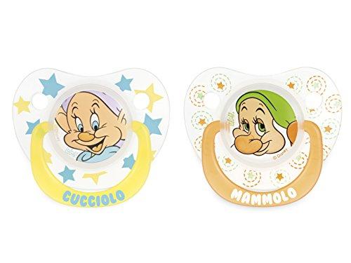 Lulabi Disney I 7 Nani Confezione da 2 Ciucci Silicone Goccia, 3 Mesi, Multicolore