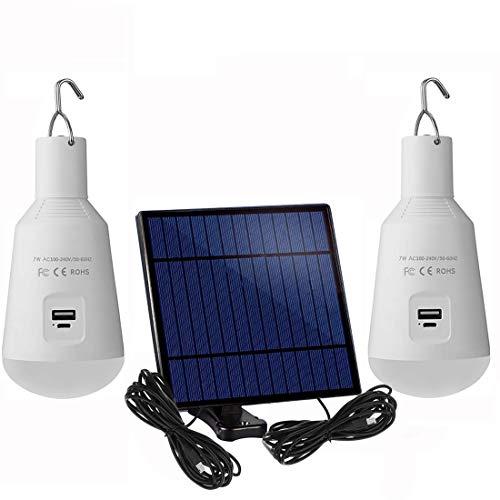 Tragbare Solar-LED-Glühbirne, 2er-Pack, 7 W, E27-Sockel, aufgeladene Solarenergie-Lampe, wiederaufladbare Notlichter für den Innen- und Außenbereich, Camping, Zelt-Beleuchtung (weiß-7 W)