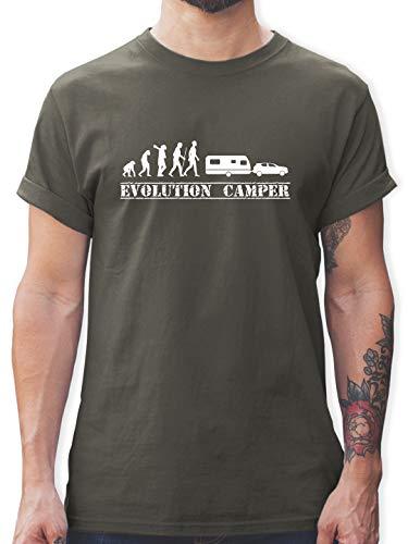 Evolution - Evolution Wohnwagen weiß - S - Dunkelgrau - Evolution Tshirt Wohnwagen - L190 - Tshirt Herren und Männer T-Shirts