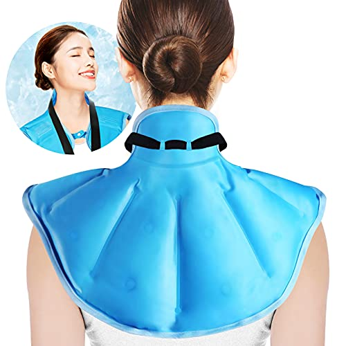 Koikey Neck Shoulder Ice Pack with Freeze Gel for Injuries Reusable Gel Cold Pack Wrap for Upper Back Pain Relief Cold Compress Therapy for Swelling,Bruises, Surgery,Sprains