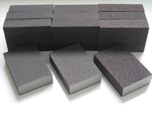 12 X MIXED GRITS WET AND DRY SANDING BLOCK / PADS FINE MEDIUM COARSE ABRASIVE FOAM SANDPAPER BLOCKS (12 MIXED BLOCKS) by DOMS DIY DIRECT