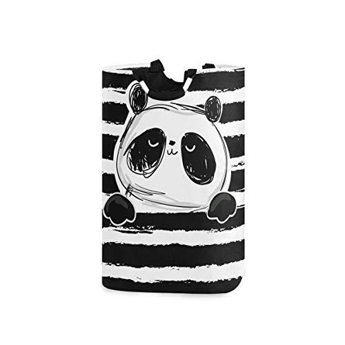 Mnsruu Panda - Cesta Plegable para la Ropa Sucia, diseño de Oso Panda en el Fondo de Rayas