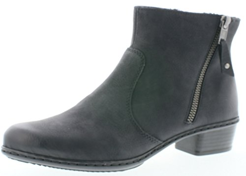 Rieker Y0790 Damen Stiefel, Stiefelette, Schlupfstiefel, funtionaler Doppelreißverschluss schwarz...