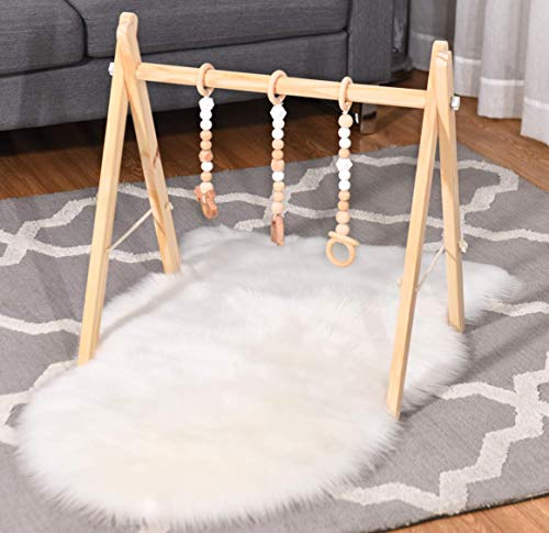 BABY JOY Portable Wooden Baby Gym, Foldable Baby Play Gym Frame with 3 Wooden Baby Teething Toys, Baby Exercise Activity Gym Hanging Bar Newborn Baby Gift (Natural)