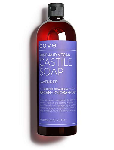 Cove Castile Soap Lavender - 1 Liter / 33.8 oz - Organic Argan, Jojoba, and Hemp Oils