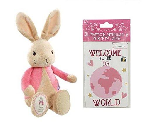 Nouveau-né bébé paquet Peter Rabbit Flopsy en peluche et Baby Moment cartes rose bébé fille cadeau (expédiés à partir du Royaume-Uni)