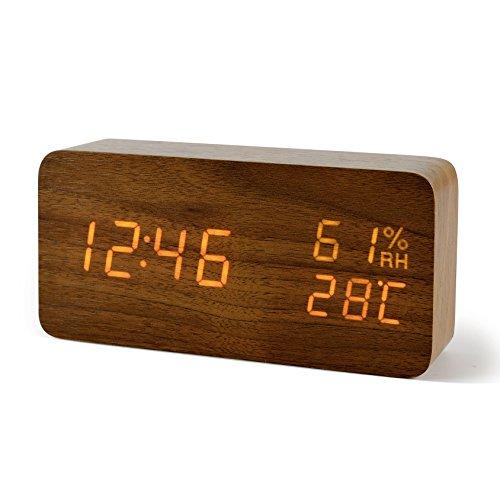FiBiSonic Wecker Digitale Tischuhr LED Datum Feuchtigkeit Temperatur Holzoptik Standuhr Dekoration Alarm