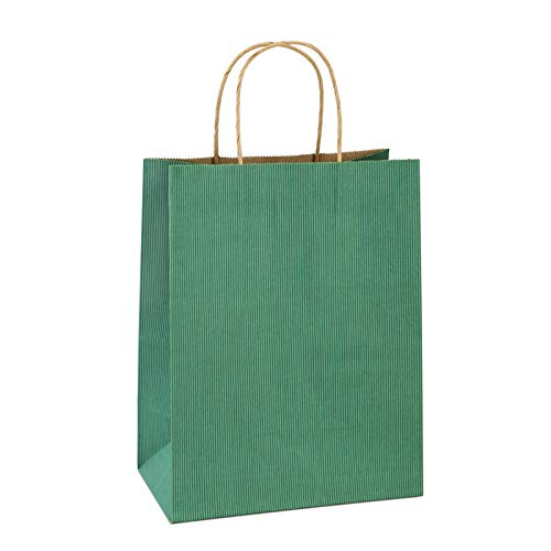 BagDream Gift Bags 8x4.25x10.5Inches 25Pcs Paper Bags, Shopping Bags, Kraft Bags, Retail Bags, Green Stripes Paper Gift Bags with Handles, 100% Recyclable Paper Bags