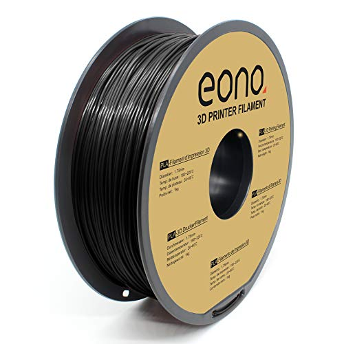 Eono PLA 3D Printer Filament, 1.75mm, Black,1kg, Strong Bonding and Overhang Performance.