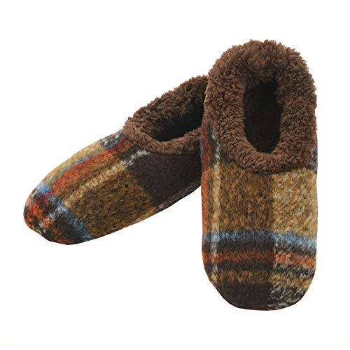 Snoozies Mens Slippers - Slippers for Men - House Slippers for Men - Men's Slippers - Mens House Slippers - Plaids of Bold - Brown - Medium