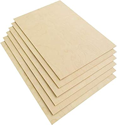 "3 mm 1/8""x 12""x 18"" Russian Birch Plywood B/BB Grade 6 Flat Sheets for Arts and Crafts,Woodworking,Scroll Sawing Projects,Painting,Laser Cutting Projects"
